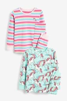 2 Pack Unicorn Stripe Snuggle Pyjamas (3-16yrs)