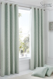 Ebony Floral Jacquard Eyelet Curtains by Serene