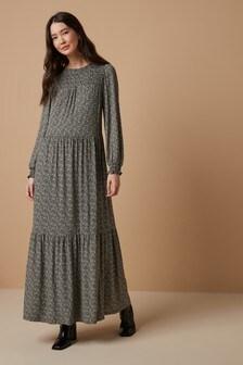 Smock Long Sleeve Maxi Dress