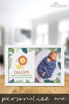 Personalised Jungle New Baby A4 Framed Print by Signature PG