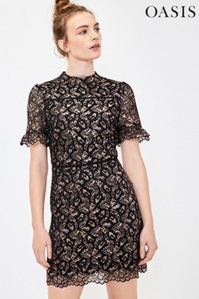 Oasis Gold Metallic Lace Shift Dress