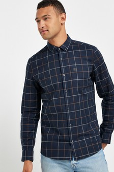 Long Sleeve Check Stretch Oxford Shirt