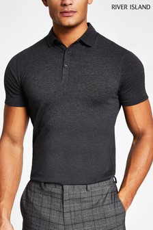 River Island Charcoal Marl Basic Polo