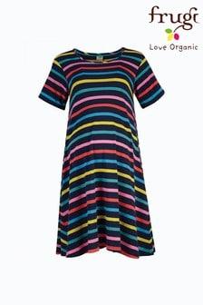 Frugi Navy Organic Cotton Knee Length Maternity Dress