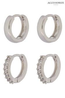 Accessorize Platinum Plated Plain & Sparkle Hoop Set