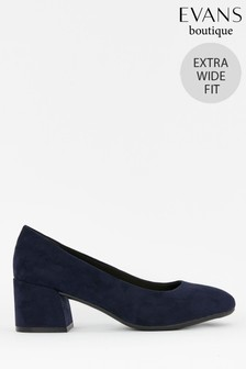 Evans Navy Extra Wide Fit Block Heel Court Shoes