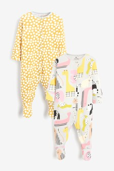 12-18 Months. NEXT .Pink//Ecru Animal Spot Sleepsuits Three Pack 9-12 Months