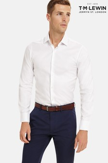 T.M. Lewin Super Fitted White Luxury Twill Shirt