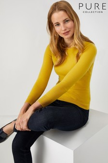 Pure Collection Yellow Cashmere Slim Fit Crew Neck Sweater