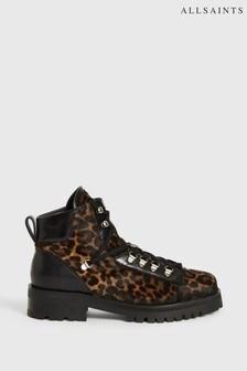 AllSaints Leopard Lia Ankle Calf Hair Boots
