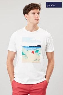 Joules White Flynn Graphic Print Crew Neck T-Shirt
