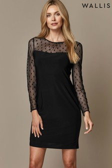 Wallis Black Spot Mesh Dress