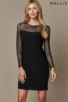 Wallis Petite Black Spot Mesh Insert Dress