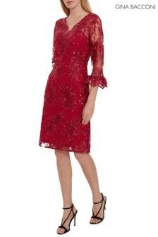 Gina Bacconi Red Corla Embroidered Dress