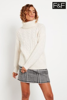 F&F Ecru Madison Cable Jumper