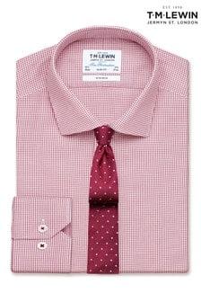 T.M. Lewin Non Iron Slim Fit Magenta Button Cuff Twill Shirt