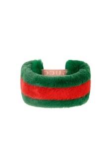 GUCCI Kids Girls Green Faux Fur Headband