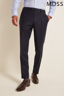Moss 1851 Performance Tailored Fit Navy Check Trousers