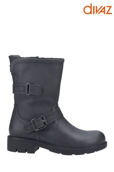 Divaz Black Whitney Faux Fur Lined Boots
