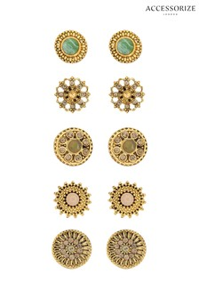 Accessorize Bronze 5 x Wild Country Stud Earrings Set