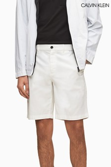 Calvin Klein White Slim Fit Garment Dyed Chino Shorts