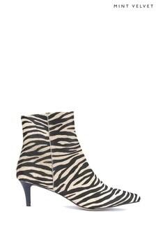Mint Velvet Animal Jodie Zebra Kitten Heel Boots