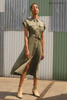 Warehouse Green Utility Midi Dress