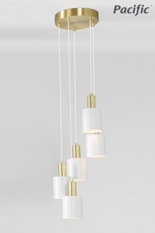 Biba White And Gold Five Drop Pendant by Pacific Lifestyle
