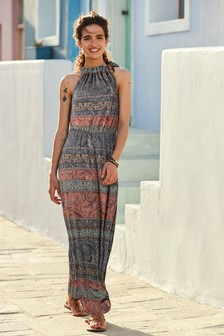 Ruched Neck Maxi Dress