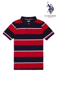 U.S. Polo Assn. Red Mixed Stripe Polo