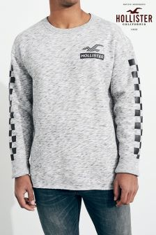 Hollister Grey Crew Neck Logo Sweater