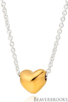 Beaverbrooks Silver And Gold Plated Petite Heart Necklace