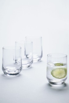 Set of 4 Optic Rib Tumbler Glasses