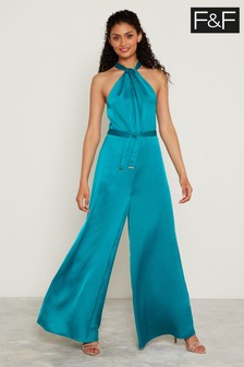 F&F Teal Twist Neck Jumpsuit