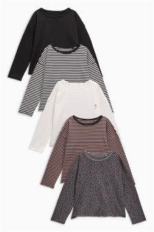 Long Sleeve Drop Shoulder Tops Five Pack (3-16yrs)