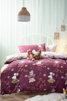 Plum Purple 100% Cotton Supersoft Brushed Fairy Duvet Cover and Pillowcase Set