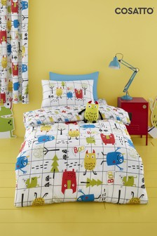 Cosatto White Monster Mob Duvet Cover and Pillowcase Set