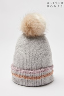 Oliver Bonas Grey Tinsel Knitted Beanie Hat