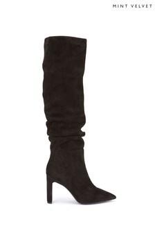 Mint Velvet Black Joni Suede Knee High Long Boots