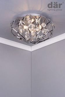 Dar Lighting Silver Riya 3 Light Flush Fitting