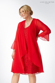 Live Unlimited Red Chiffon Overlayer Dress