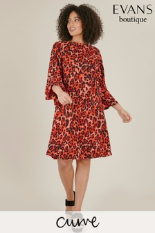Evans Multi Pastel Curve Leopard Frill Sleeve Shift Dress