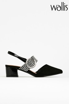 Catherine Black Feature Buckle Slingback Shoes
