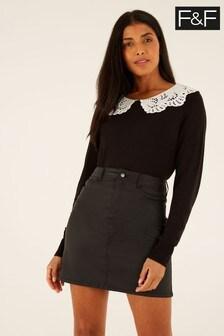 F&F Black Coated Skirt