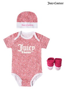 Juicy Couture 3-teiliges Set in Leopardenoptik mit Body, Stiefeln und Mütze