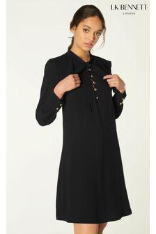 LK Bennett Black Millie Fluid Crepe Dress With Frill Neckline