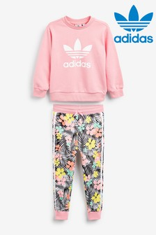 adidas Originals Little Kids Pink Tropical Crew And Jogger Set