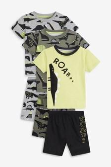 3 Pack Dinosaur Print Short Pyjamas (9 mesi - 8 anni)