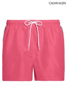 Calvin Klein Pink Mono Tape Short Drawstring Swim Trunks