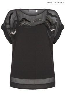 Mint Velvet Animal Zebra Embellished T-Shirt